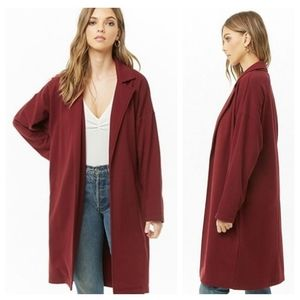 F21 Terry Trench Coat Long Cardigan Jacket Duster
